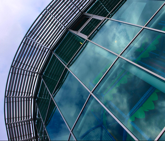 Perspective shot of National Marine Aquarium exterior client of Drew and Co